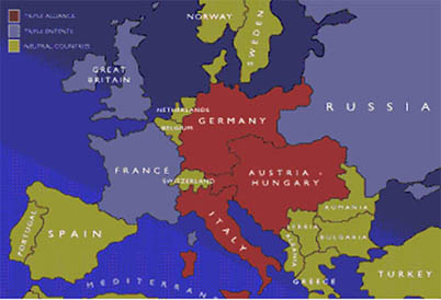 Causes Of The First World War - Europe world war1 map 1914