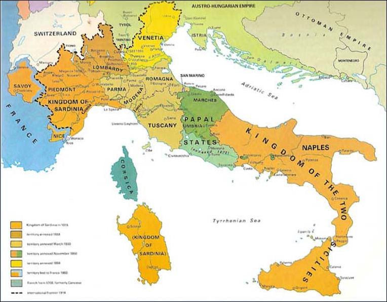 why did piedmont play a leading role in the unification of italy from 1848 71